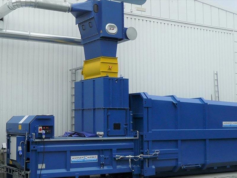 Die stationären Müllpressen der Fa. Werner & Weber sind ideal für das verdichten von großen Mengen von Abfall und Wertstoffen